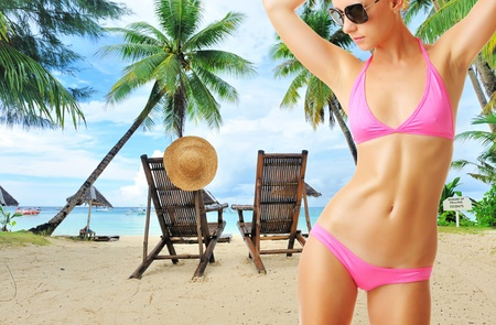 Woman with beautiful body wearing sunglasses at tropical beach. Collage. Stock Photo - 12398697