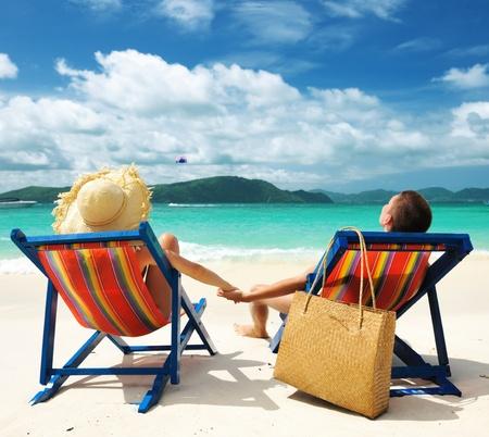 beach hat: Couple on a tropical beach