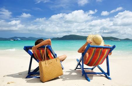 Couple on a tropical beach Stock Photo - 13059000