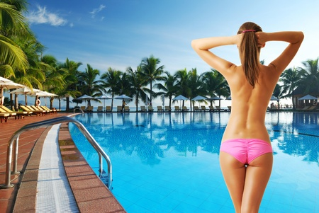bikini pool: Girl at tropical swimming pool. Collage.