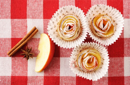 Delicious apple pies dessert on red cloth  Stock Photo - 13144831