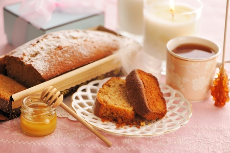 fruit cake: Fruit cake over table cloth