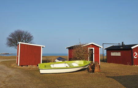 Wood houses of camping in Sweden photo