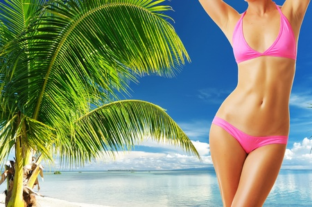 Woman with beautiful body at tropical beach. Collage. Stock Photo - 13509062