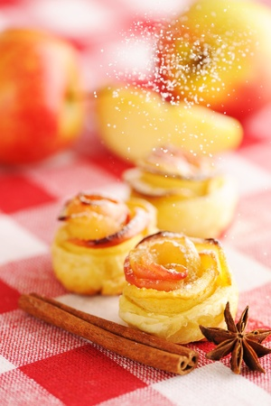 Delicious apple pies dessert on red cloth Stock Photo - 13599099