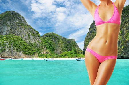 Woman with beautiful body at tropical beach. Collage. Stock Photo - 13645903