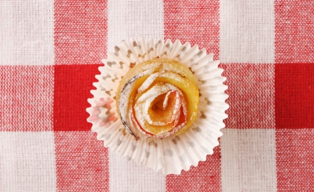 Delicious apple pies dessert on red cloth  photo