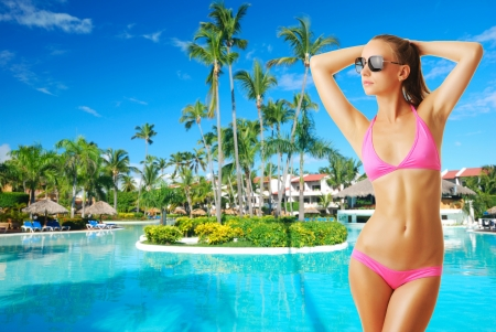 sexual activity: Girl with sunglasses at tropical swimming pool. Collage.
