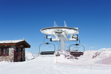 station ski: Ski lift station in mountains at winter, Val-dIsere, Alps, France