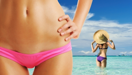 summer girl: Women with beautiful body at tropical beach. Collage. Stock Photo