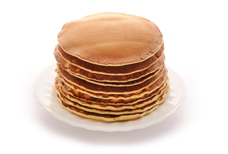 freshly prepared: Delicious freshly prepared pancakes isolated on white