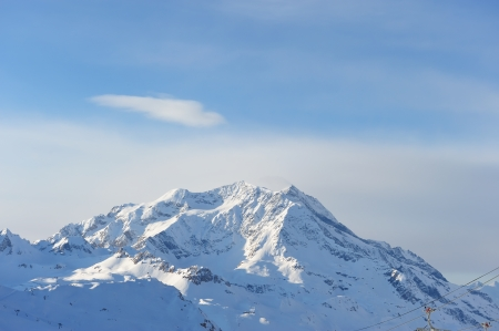 Mountains with snow in winter, Val-d'Isere, Alps, France photo