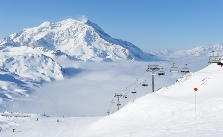 Mountains with snow in winter, Val-dIsere, Alps, France photo