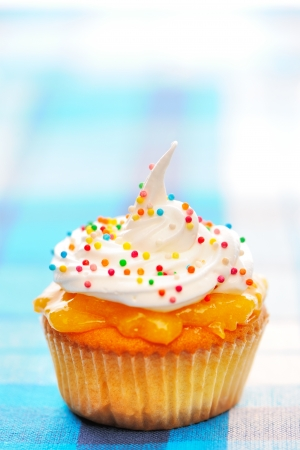 Cupcake with whipped cream and icing photo