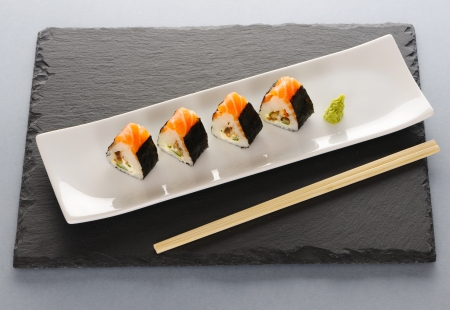 maki: Sushi rolls on a slate plate