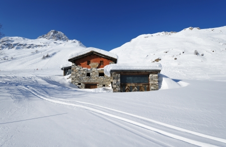 alpine hut: Mountain ski resort with snow in winter, Val-dIsere, Alps, France