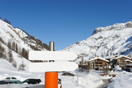 Mountain ski resort with snow in winter, Val-dIsere, Alps, France photo