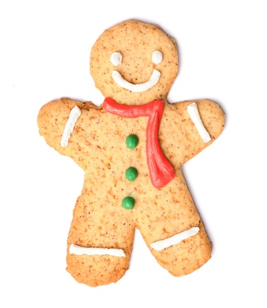 Christmas gingerbread man cookie isolated on white photo