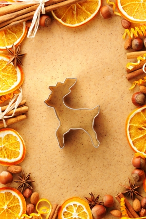 Christmas spices and cookie cutter over homemade gingerbread dough photo