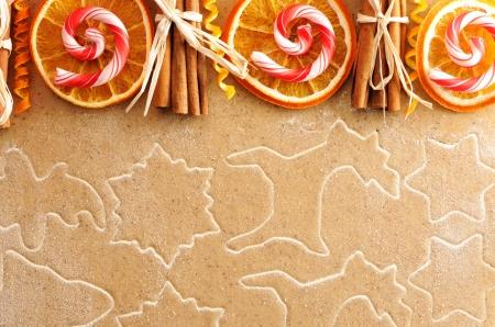 christmas cake: Christmas spices over homemade gingerbread dough Stock Photo
