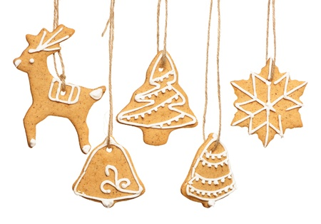 gingerbread cookies: Christmas homemade gingerbread cookies over white