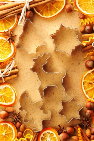 Christmas spices and cookie cutters over homemade gingerbread dough photo