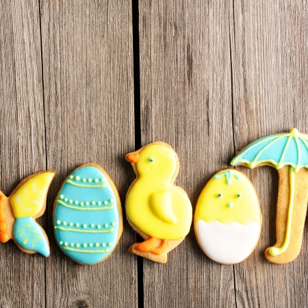 Easter homemade gingerbread cookie over wooden table Stock Photo - 17303365