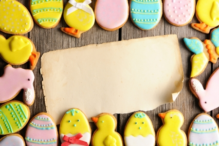 Easter homemade gingerbread cookie over wooden table Stock Photo - 17303167