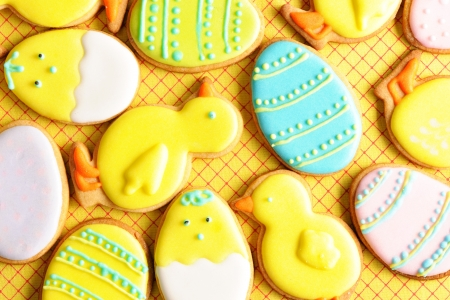 Easter homemade gingerbread cookie over tablecloth photo