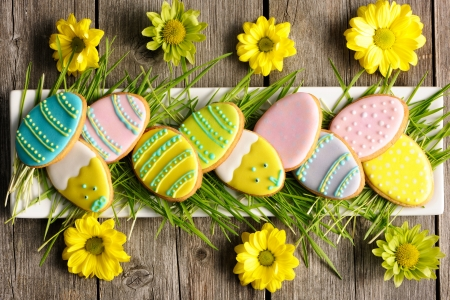 Easter homemade gingerbread cookie over wooden table Stock Photo - 17303371