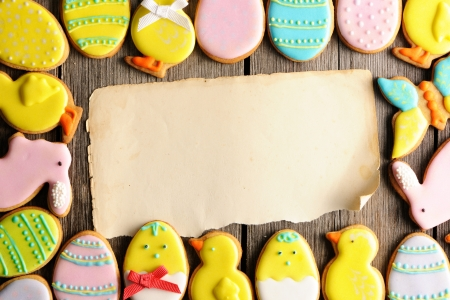 Easter homemade gingerbread cookie over wooden table Stock Photo - 17373979