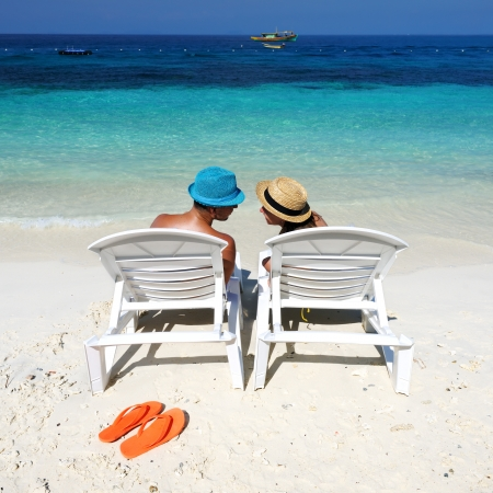 Couple on a tropical beach photo