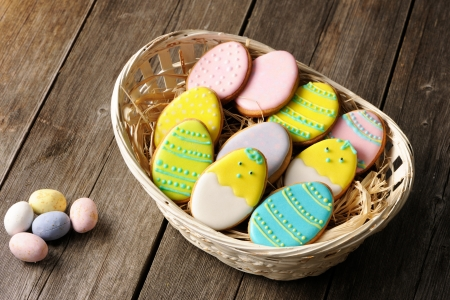 Easter homemade gingerbread cookie over wooden table Stock Photo - 18005254