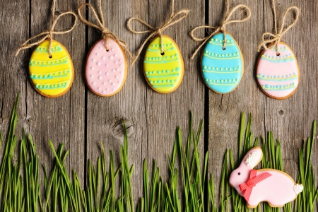 Easter homemade gingerbread cookie over wooden table Stock Photo - 18005269