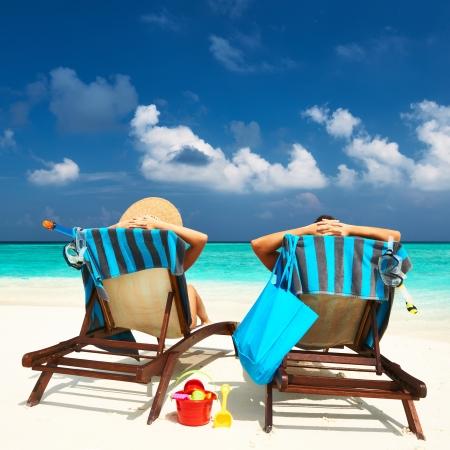tropical beach: Couple on a tropical beach at Maldives