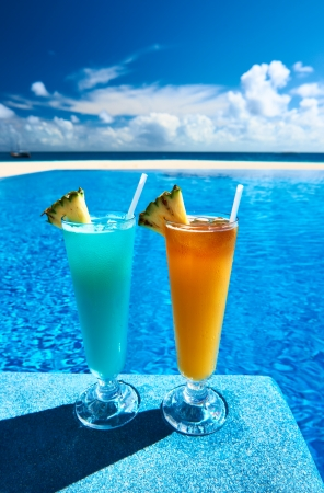 pool party: Cocktails near the swimming pool