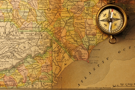 Antique Brass Compass Over Old XIX Century Map Stock Photo - Antiques us maps with compass