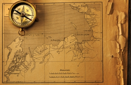 Antique Brass Compass Over Old Map Background Stock Photo Picture - Antiques us maps with compass