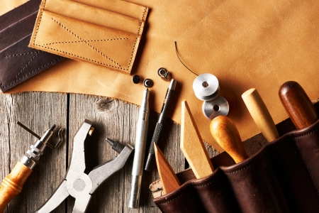 crafting: Leather crafting tools still life