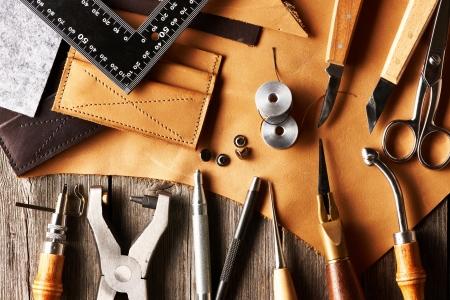řemesla: Kožené Crafting nástroje zátiší