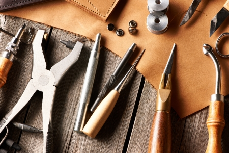 workmanship: Leather crafting tools still life