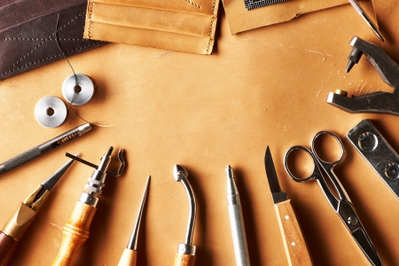 craft product: Leather crafting tools still life