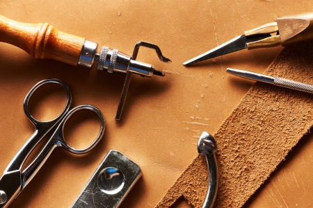 craft work: Leather crafting tools still life