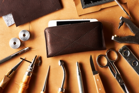 Leather crafting tools still life photo