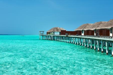 maldives island: Beautiful beach with water bungalows at Maldives Stock Photo