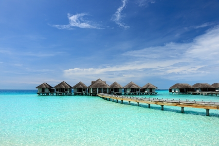 Beautiful beach with water bungalows at Maldives Reklamní fotografie