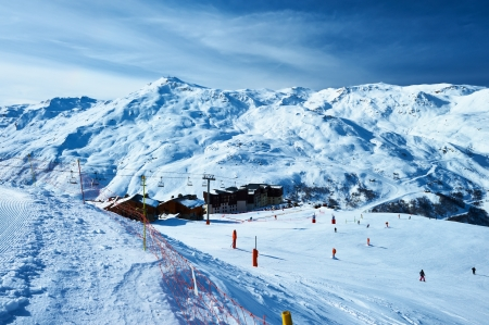ropeway: Mountains with snow in winter, Meribel, Alps, France