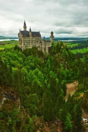 neuschwanstein: The castle of Neuschwanstein in Bavaria, Germany  Editorial