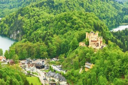 schwangau: Landscape with castle of Hohenschwangau in Bavaria, Germany  Editorial
