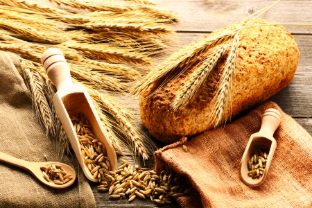 spikelets: Rye spikelets and bread  Stock Photo